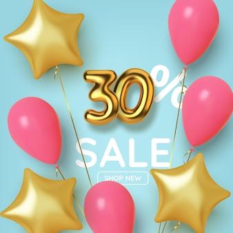 30 réductions sur la vente promotionnelle en nombre d'or 3d réaliste avec des ballons et des étoiles. nombre sous forme de ballons dorés.