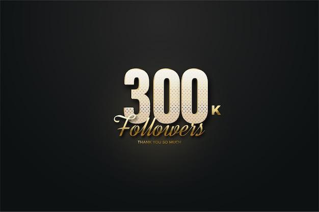 300 000 abonnés avec des nombres mouchetés d'or