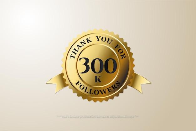 300 000 followers avec un numéro au milieu de la médaille d'or