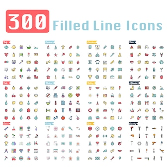 300 icônes de contour remplies