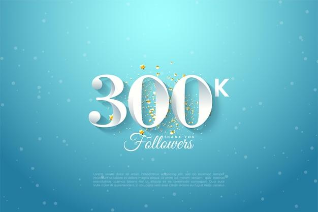 300k abonnés avec illustration de nombres dégradés sur fond bleu.