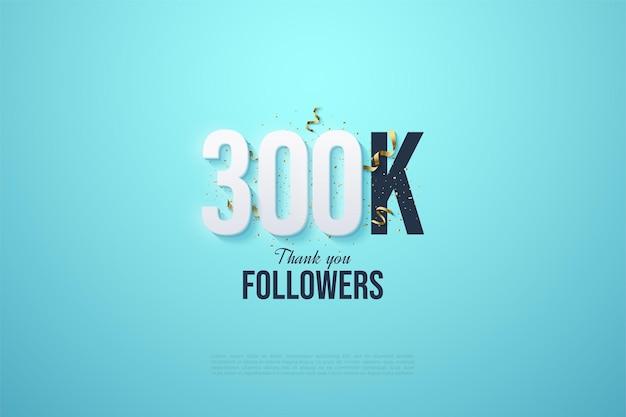 300k adeptes avec des chiffres et des bibelots de fête sur fond bleu ciel.