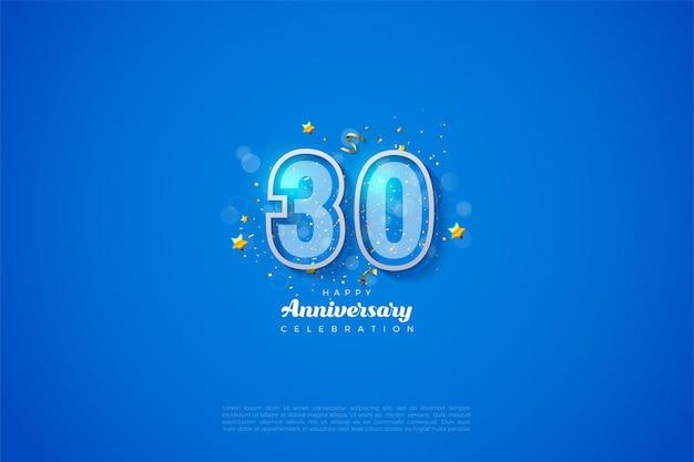 30e anniversaire fond avec illustration numéro rayé blanc sur le bord