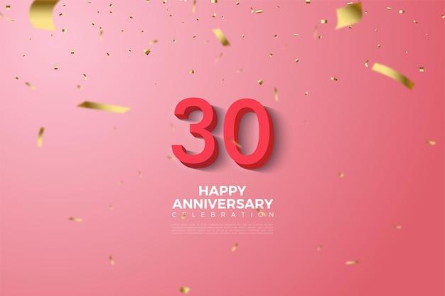 30e anniversaire fond avec illustration de numéros 3d en relief de couleur or