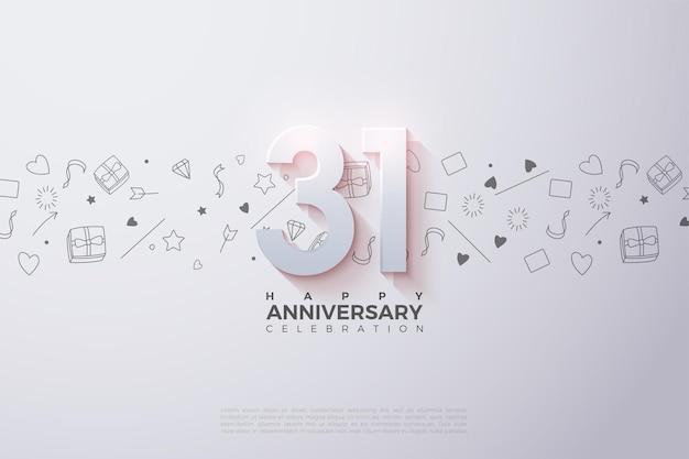 31e anniversaire avec des chiffres 3d ombrés doux