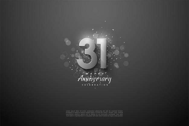 31e anniversaire avec chiffres en argent 3d