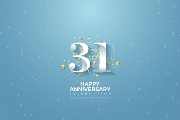 31e anniversaire avec des chiffres sur fond de ciel bleu
