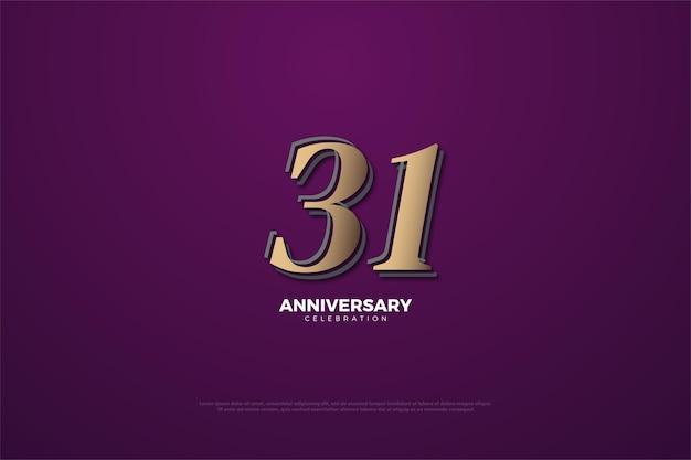 31e anniversaire avec des chiffres marron sur fond violet