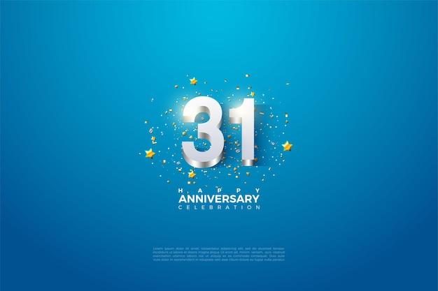 31e anniversaire avec des chiffres plaqués argent