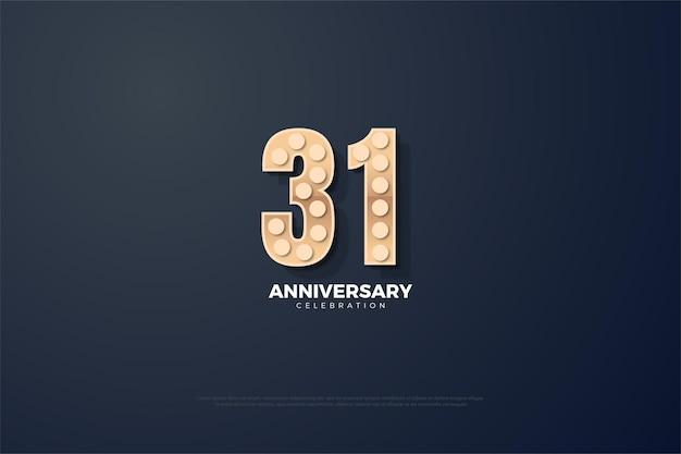 31e anniversaire avec édition de nombres 3d
