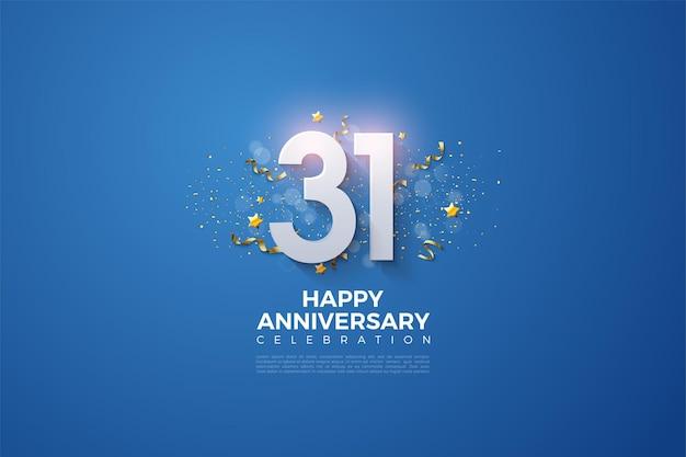31e anniversaire avec des nombres 3d apparaissant sur un fond bleu