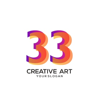 33 nombre logo design dégradé coloré