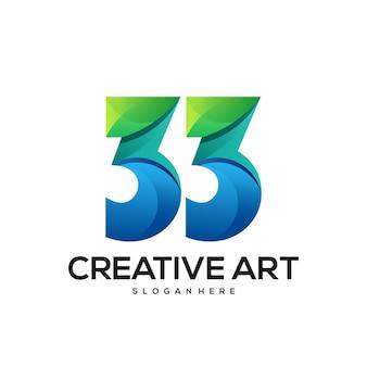33 numéro de logo dégradé coloré