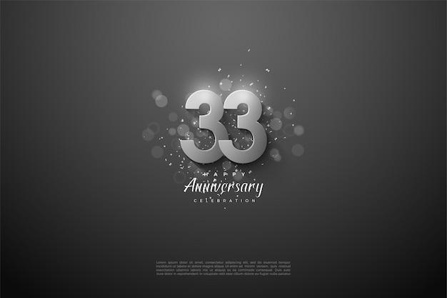 33e anniversaire avec des chiffres d'argent sur fond noir
