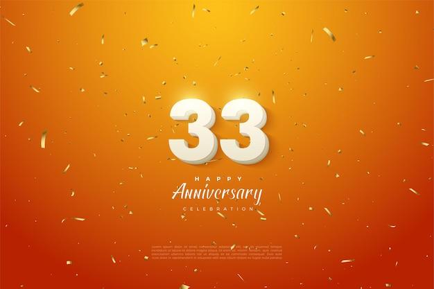 33e anniversaire avec des chiffres blancs en gras sur fond orange