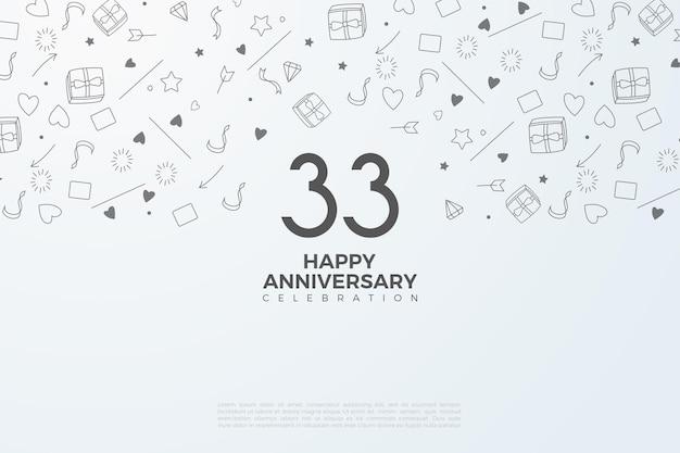 33e anniversaire avec des chiffres en noir sur blanc
