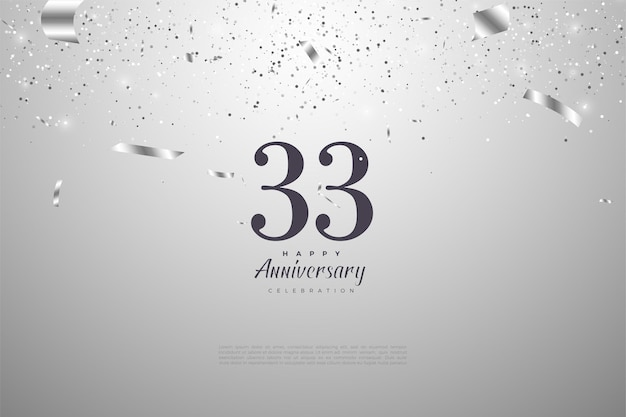 33e Anniversaire Avec Chiffres Noirs Sur Argent Vecteur Premium