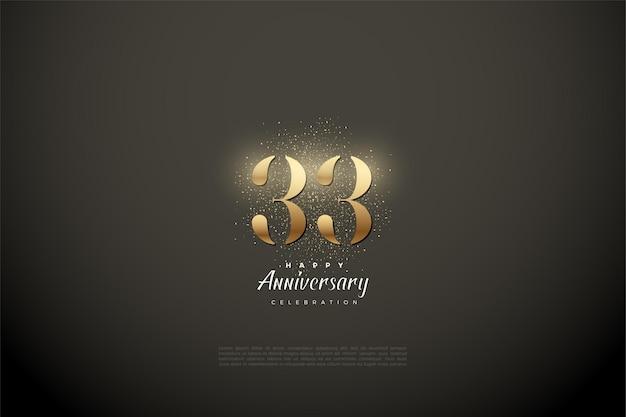 33e anniversaire avec des chiffres en or brillant
