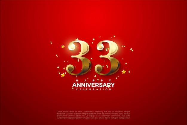 33e anniversaire avec des chiffres en or fantaisie