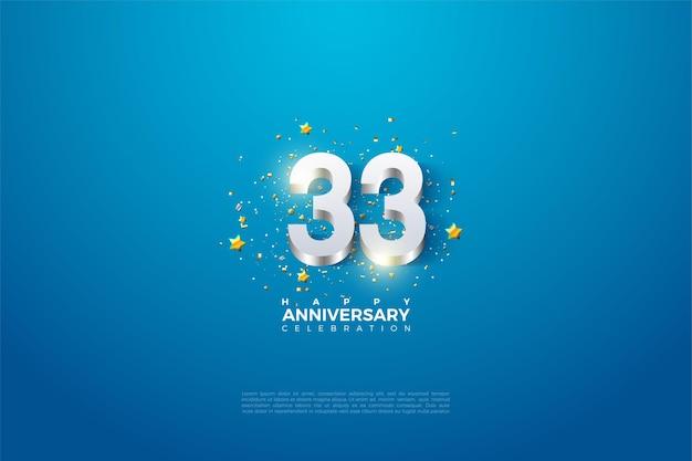 33e anniversaire avec des chiffres plaqués argent