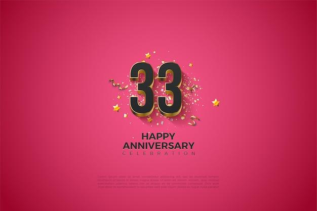 33e anniversaire avec des chiffres plaqués or massif