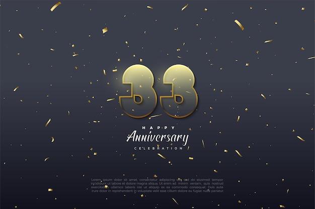 33e anniversaire avec des chiffres transparents