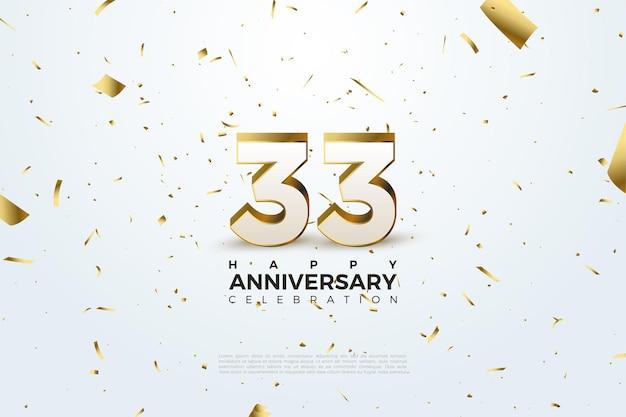 33e anniversaire avec feuille d'or dispersée