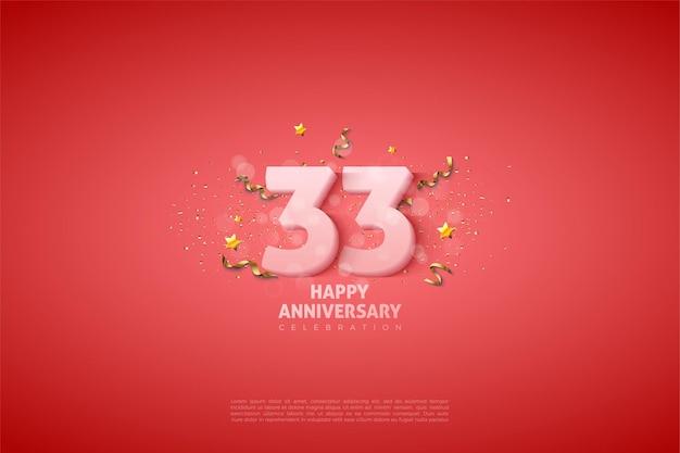 33e anniversaire avec illustration de chiffres blancs doux