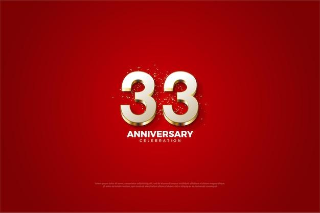 33e anniversaire avec de luxueux chiffres en or