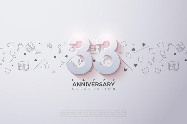 33e anniversaire avec des numéros 3d décolorés
