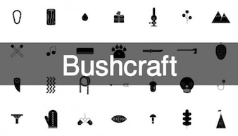 34 bushcraft icône ensemble