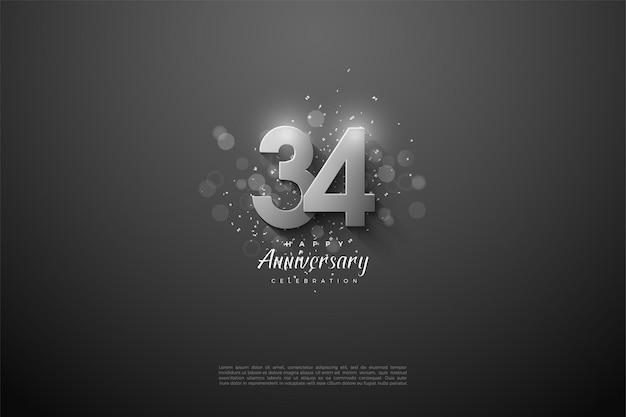 34e anniversaire avec chiffres en argent 3d