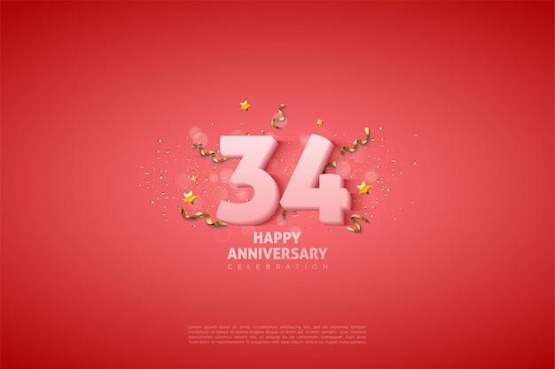 34e anniversaire avec des chiffres blancs doux