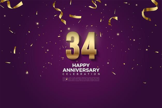 34e anniversaire avec chiffres et chute de ruban d'or