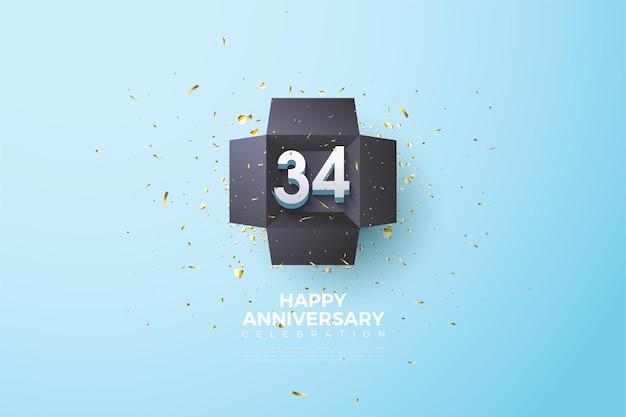 34e anniversaire avec des chiffres dans une boîte noire
