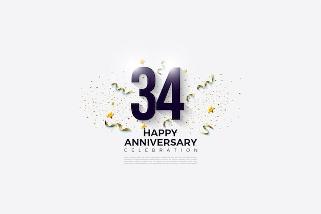 34e anniversaire avec chiffres et festivités