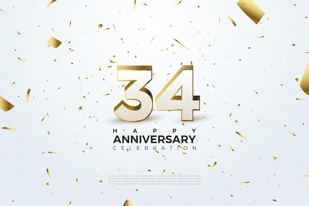 34e anniversaire avec chiffres et feuille d'or