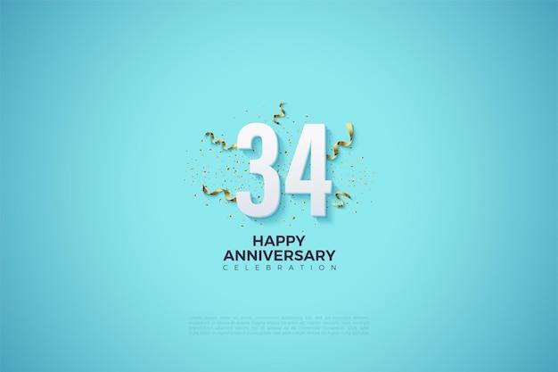 34e anniversaire avec des chiffres sur un fond bleu clair f