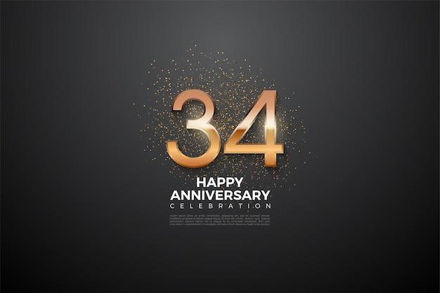 34e anniversaire avec des chiffres lumineux