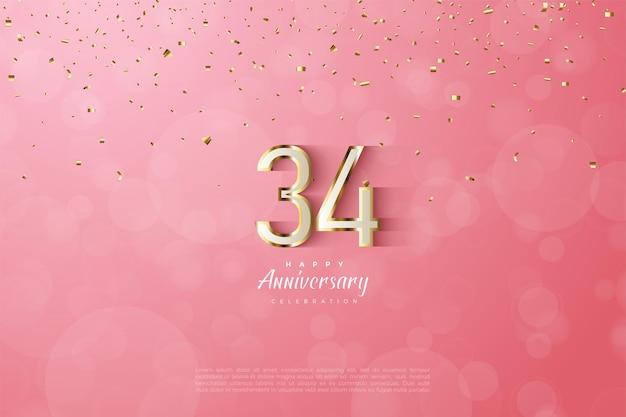 34e anniversaire avec des chiffres luxueux bordés d'or