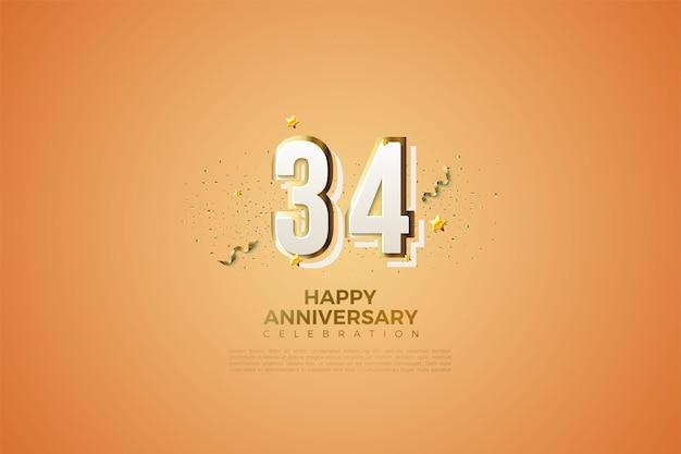 34e anniversaire avec des chiffres modernes