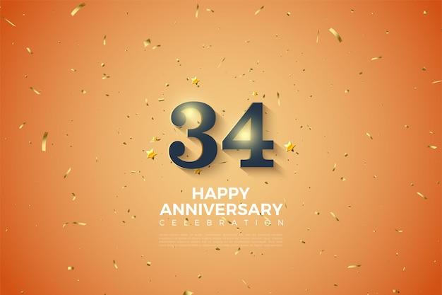 34e anniversaire avec des chiffres ombragés en blanc doux