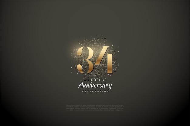 34e anniversaire avec des chiffres en or et des paillettes
