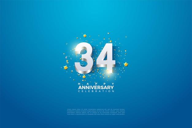 34e anniversaire avec des chiffres plaqués argent