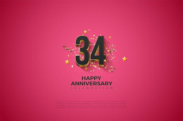 34e anniversaire avec des chiffres plaqués or audacieuxc
