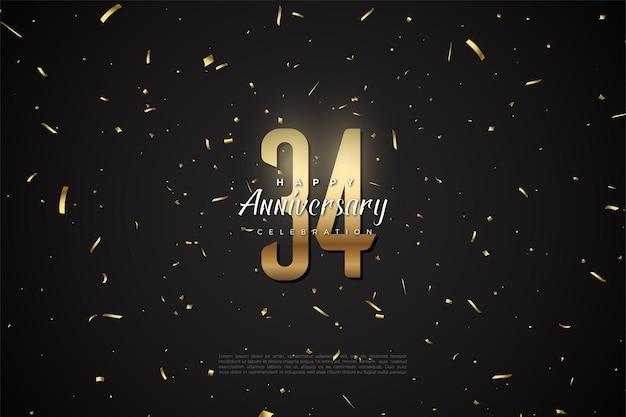 34e anniversaire avec des chiffres et des points d'or