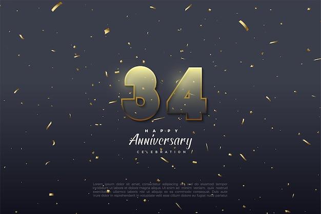 34e anniversaire avec des chiffres transparents