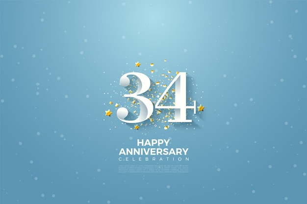 34e anniversaire avec fond de ciel bleu