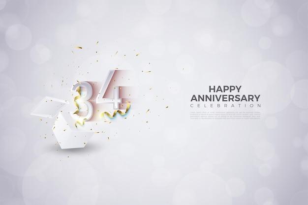 34e anniversaire avec l'illustration des chiffres qui s'affiche
