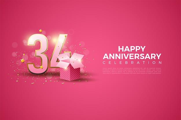 34e anniversaire avec illustration du numéro au dos de la boîte-cadeau